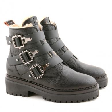 Fae Buckle Fur Black N80